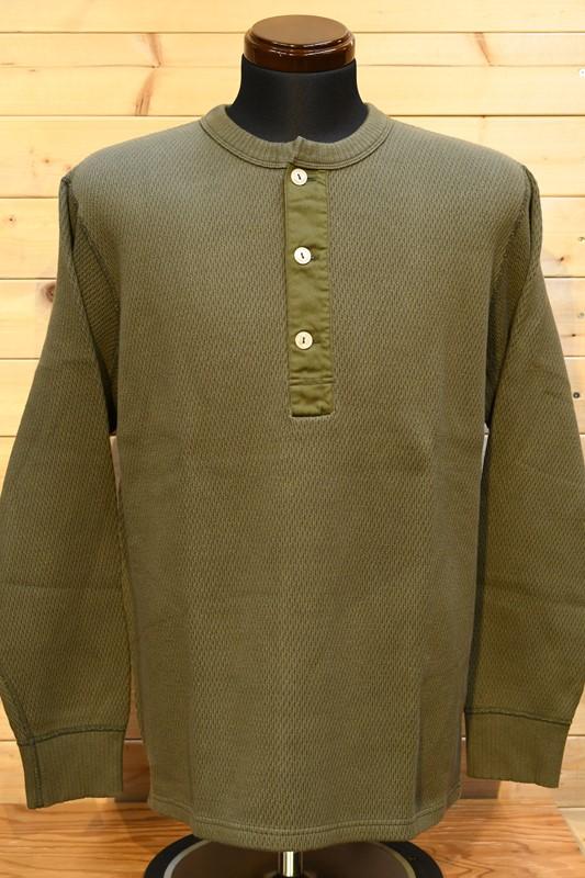 フェローズ  長袖Tシャツ PHERROW'S 21W-PWHT1  ヘビーハニカム ワッフル サーマル ロンT  オリーブ