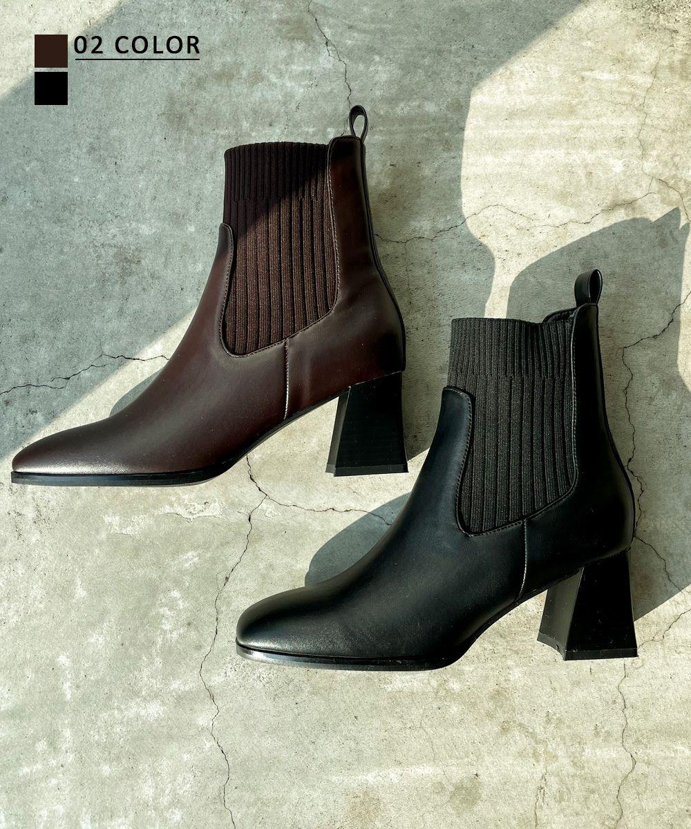 リブデザインショートブーツ 【宅配便】【BO2021AW】shoes