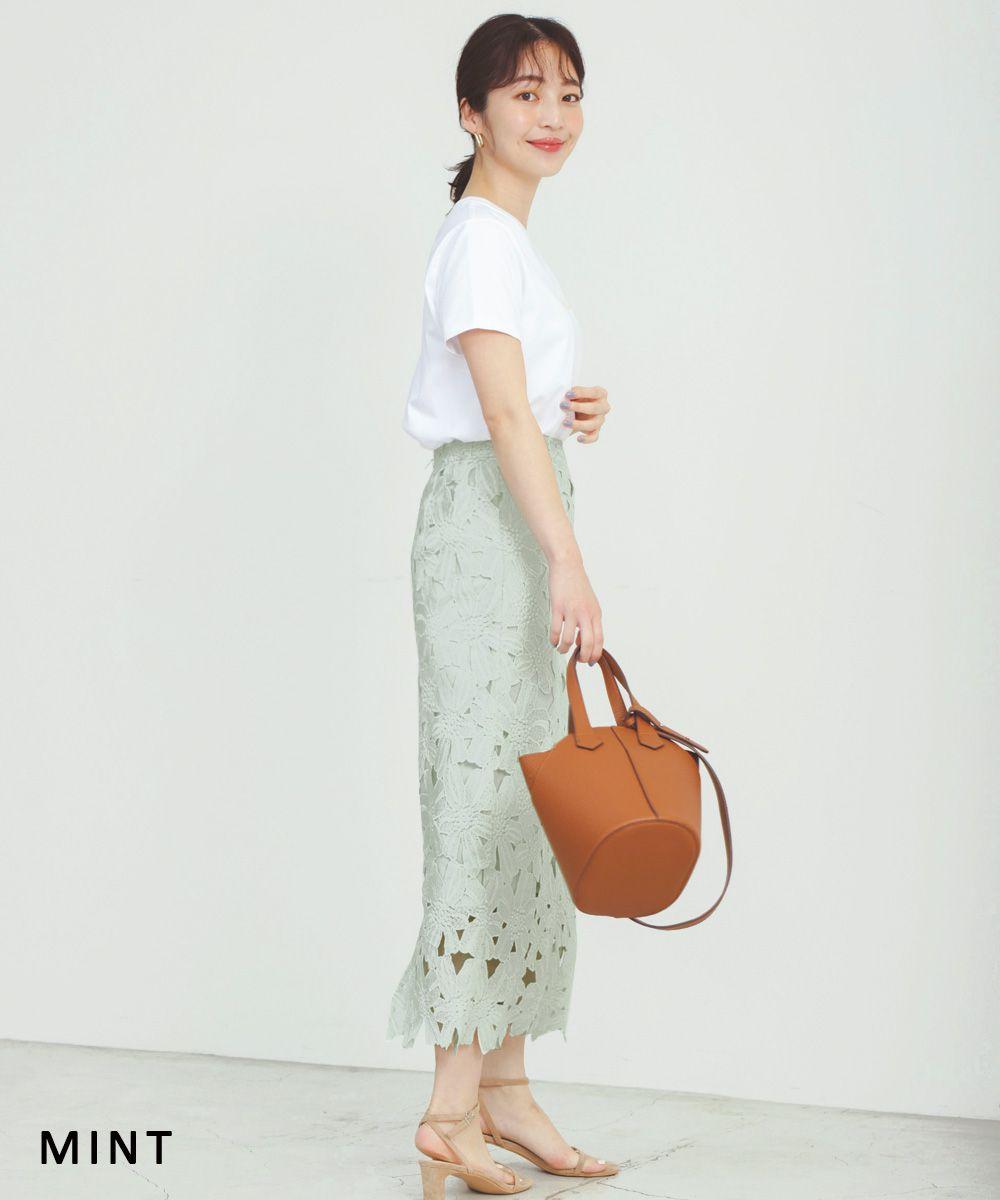 フラワーレースタイトスカート【宅配便】【BO2021SS】