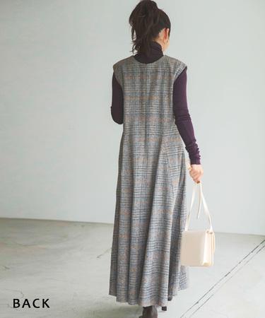 チェックフレアジャンパースカート 【宅配便】【BO2020AW】