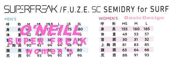 2019-20 オニール スーパーフリーク セミドライ ウィメンズ  O'NEILL SUPER FREAK for Women's  (品番:WG-2870)