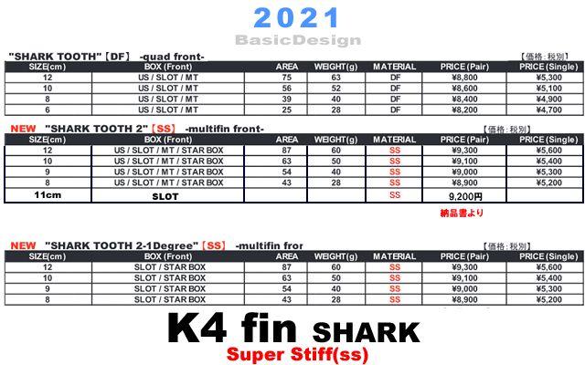 2021 ケィフォーフィン シャーク2's スロットボックス K4 FIN SHARK TOOTH 2 SUPER STIFF (SS/SlotBox)