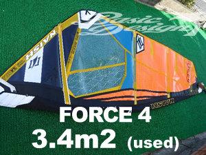 2020 ナッシュセイル フォース4 NAISH FORCE4 3.4m2  (中古/送料無料/USW-527)