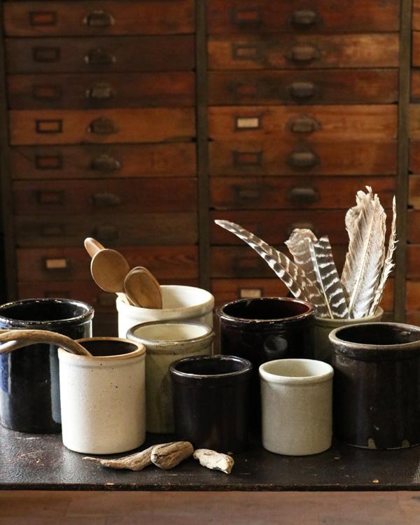 Old Crock Brown D|陶器カトラリー立て Brown D