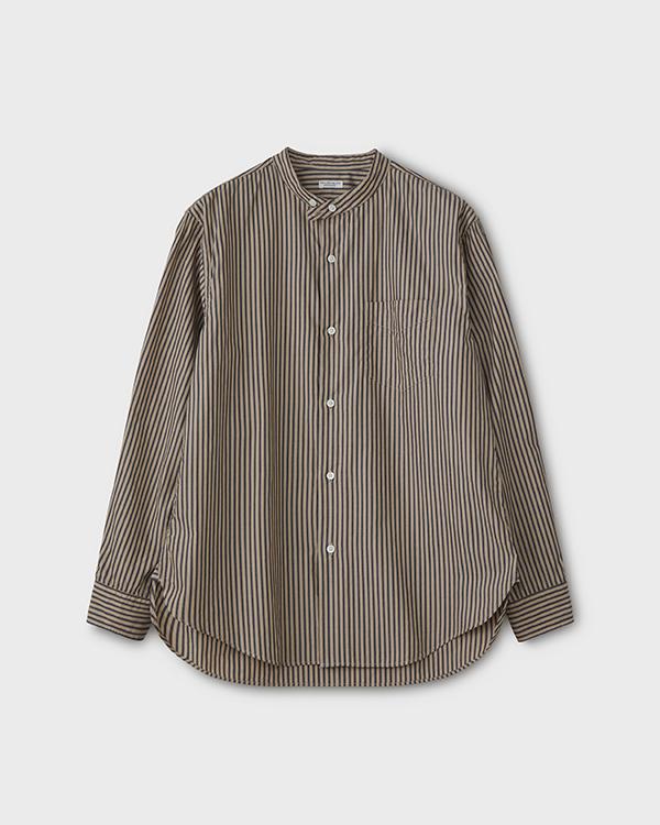 PHIGVEL フィグベル BAND COLLAR DRESS SHIRT バンドカラードレスシャツ【BEIGE×NAVY STRIPE】