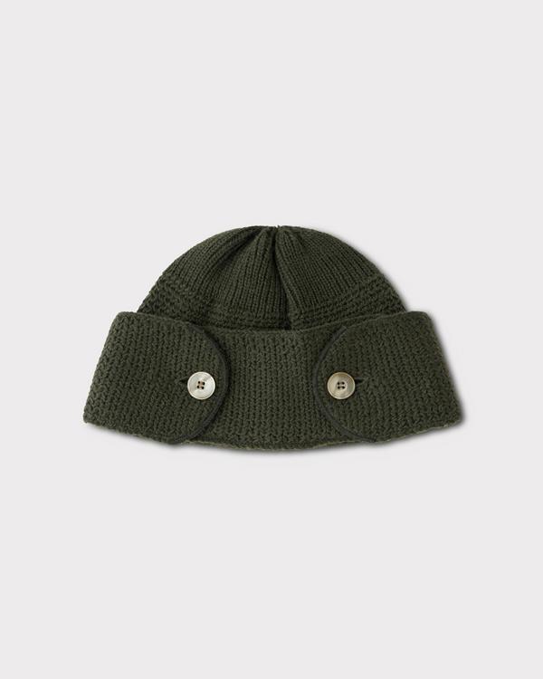PHIGVEL フィグベル|BUTTONED WATCH CAP ボタンワッチキャップ【OLIVE】