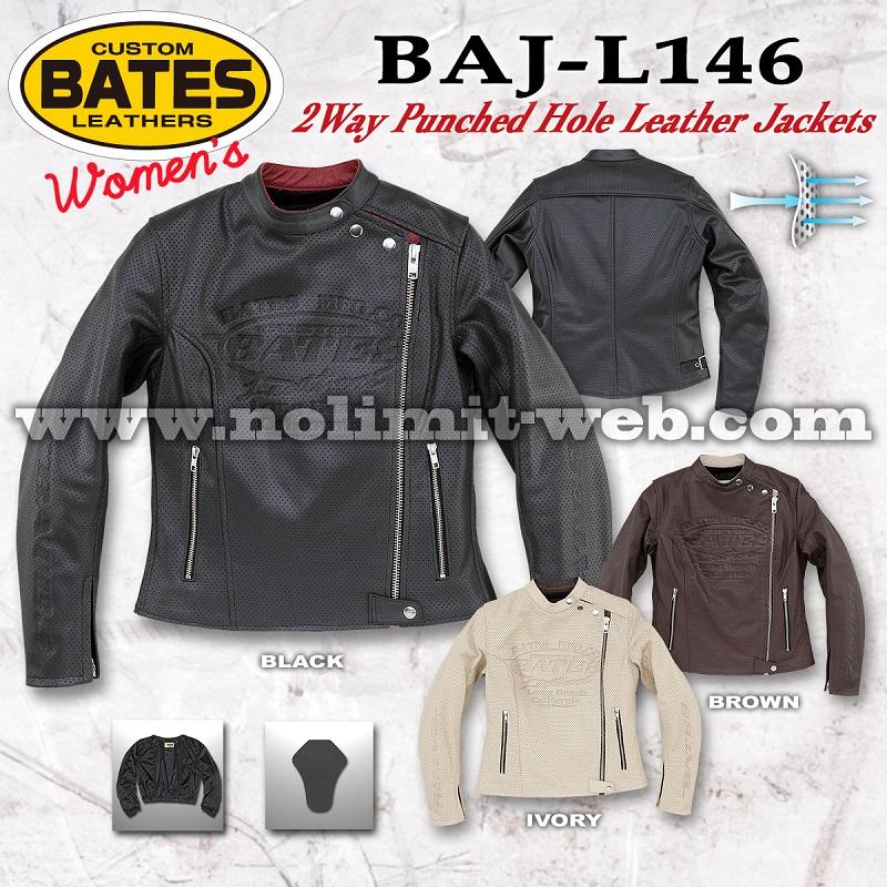 BAJ-L146-Ladys ベイツ レディス 2Wayパンチホールレザージャケット
