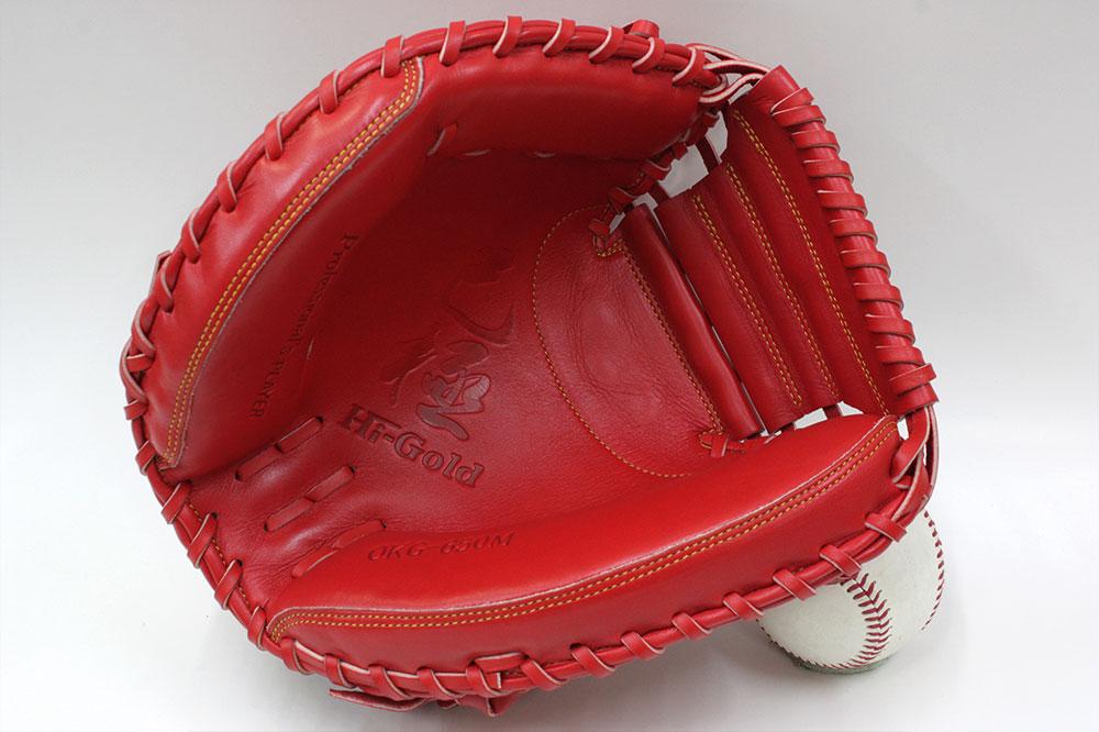 ハイゴールド 軟式用キャッチャーミット OKG-650M 左投げ用 SRオレンジ 己極 光沢加工 野球 軟式 学生野球対応