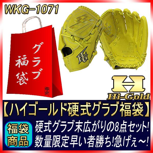 送料無料 福袋 ハイゴールド 硬式グラブ福袋 WKG-1071 ナチュラルイエロー 投手用 サイズD-5 硬式グラブを含めて9点セット 技極プロレザー 最高峰