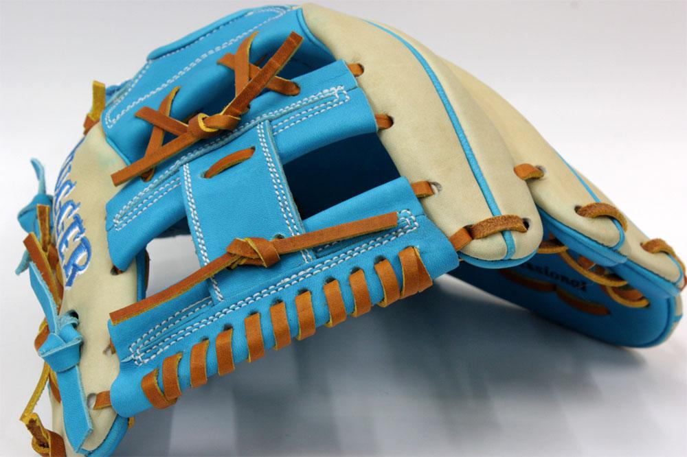 送料無料 久保田スラッガー オーダー 軟式グローブ 22PS W-5ウェブ K3ラベル クリーム×水色 ショート用  型付け券&ランドリー付き グローブ 野球 軟式 型付け無料 GTK