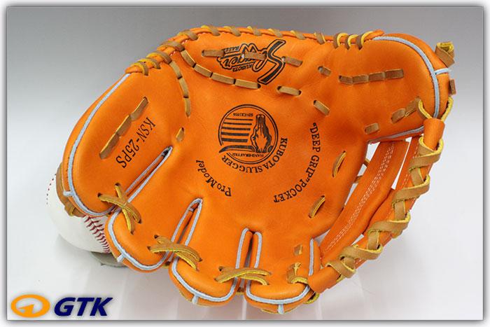 久保田スラッガー KSN-25PS KSオレンジ 一般軟式用グラブ 内野手用 大きめのポケットと短めの指を持つコンパクトモデル【GTK】