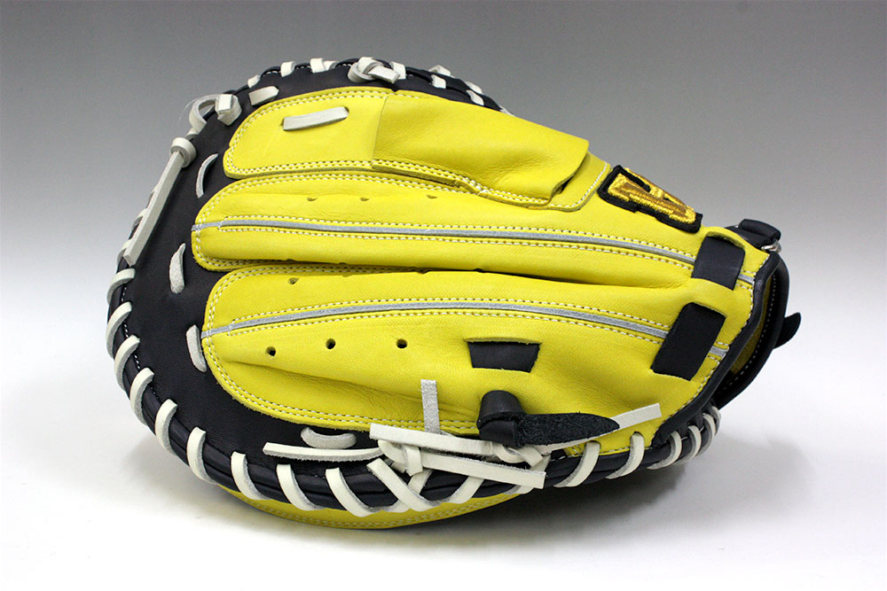 ハイゴールド BSG-78M ネイビー×イエロー×白紐 一般ソフトボール用キャッチャーミット ベーシックカスタマーシリーズ