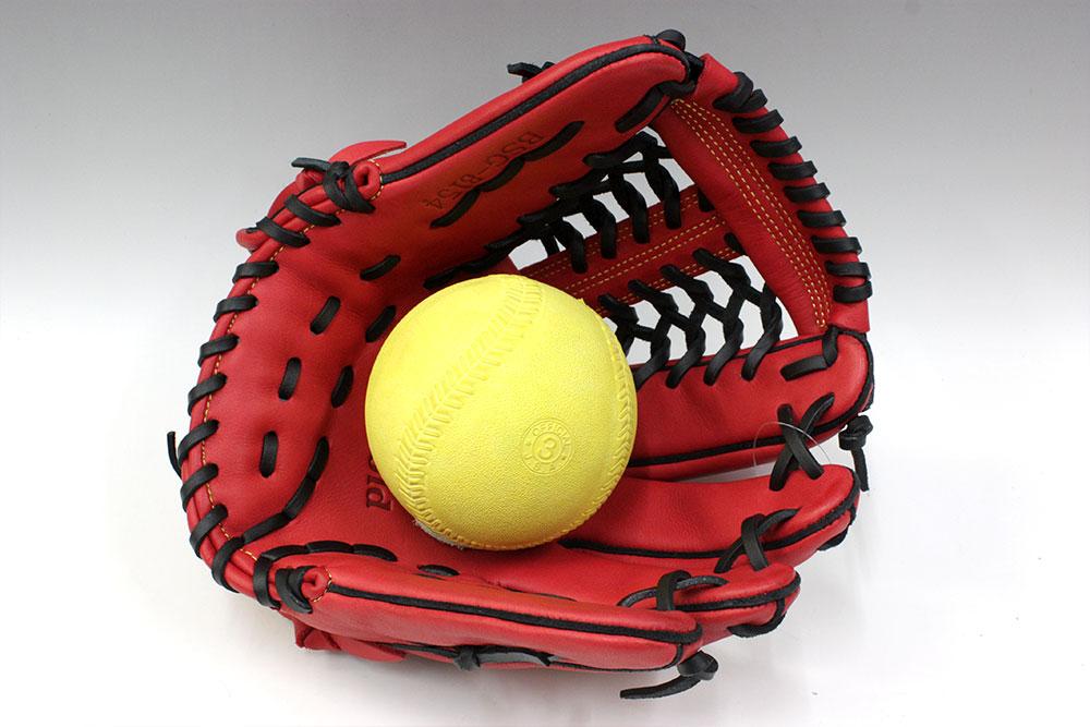 ハイゴールド BSG-8154 レッド×ブラック 一般ソフトボール用グラブ サイズD-2 女子選手に最適な手入れ部小さ目グラブ ベーシックカスタマーシリーズ