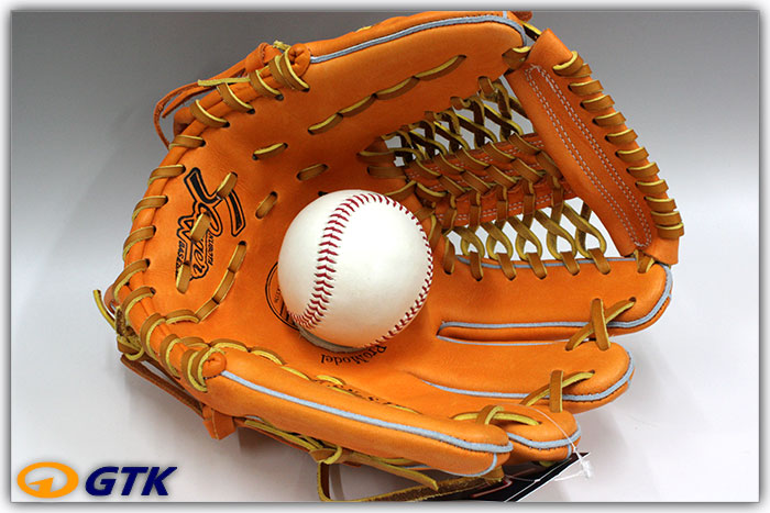 久保田スラッガー KSN-SJ2 KSオレンジ 一般軟式用グラブ 内野手用 手の小さい方や本格的な革を求めるジュニアの方へ 手入れ部スモールサイズ【グローブ 野球 軟式 型付け無料 学生野球対応 GTK】