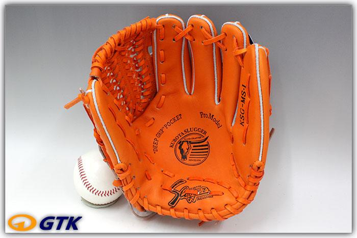 久保田スラッガー KSG-MS1 DPオレンジ×オレンジ紐 K7ラベル 硬式投手・内野手兼用用グラブ 手入れ部を小さくしフィット感を高めたミドルサイズ商品です  【グローブ 野球 硬式 型付け無料 高校野球対応】