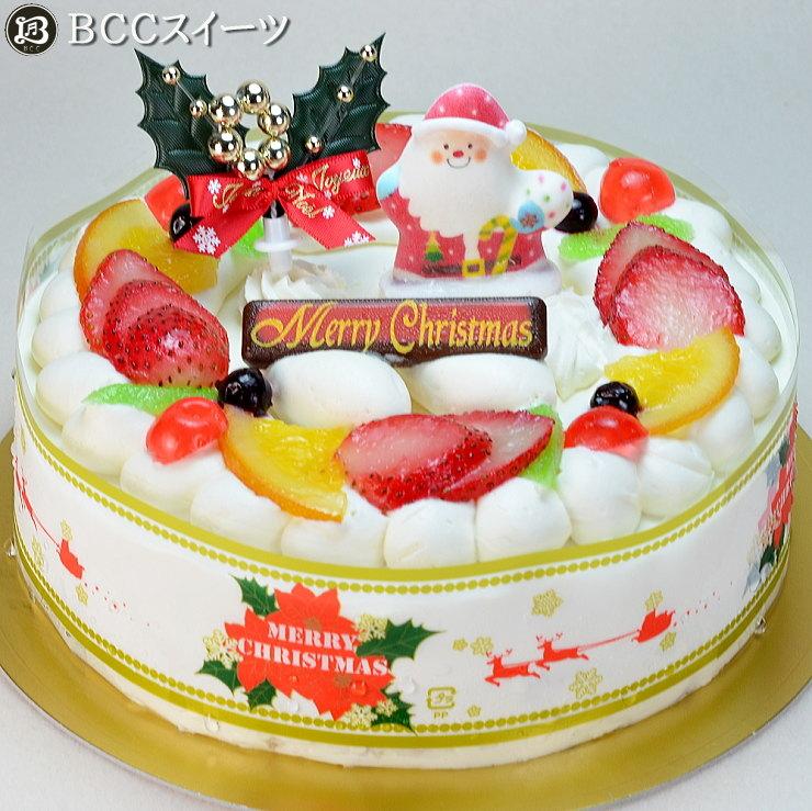 クリスマスケーキ 6号 リース生クリーム / 18cm  いちご 生クリームケーキ 2020 予約 クリスマス ケーキ お取り寄せ 子供 人気 サンタ 飾り 冷凍 ギフト サイズ プレゼント スイーツ お菓子 フルーツケーキ