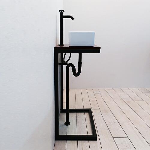 洗面台 洗面化粧台 [陶器洗面ボウル+洗面化粧台+単水栓+プッシュ式排水栓+トラップ]の5点セット [IDS-13] INK-1401335hset