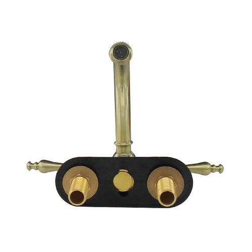 蛇口 混合水栓 スパウト回転 360 アンティークゴールド(古金) 三つ穴 4インチ専用 [奥行20×吐水口高7.5cm] INK-0303140H