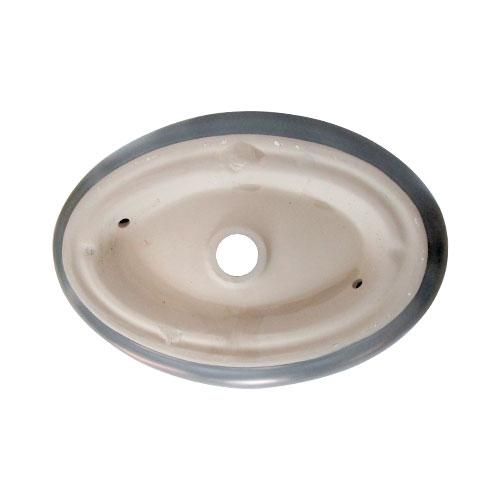 洗面ボウル おしゃれ 陶器 オンカウンター 置き型 オーバル グレー 幅49×奥行34×高14.5cm INK-0403333H