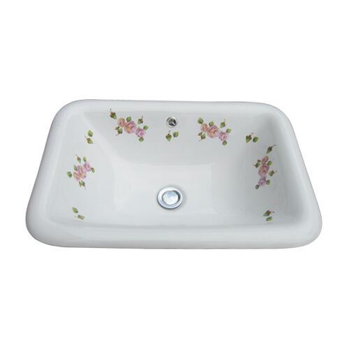 洗面ボウル 洗面器 おしゃれ 陶器 オーバーカウンター 埋め込み スクエア 四角 幅55×奥行38×高18.7cm INK-0403056H
