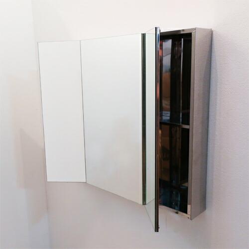 ミラーキャビネット 三面鏡 収納 ステンレス [幅75×高67cm] INK-0702017G