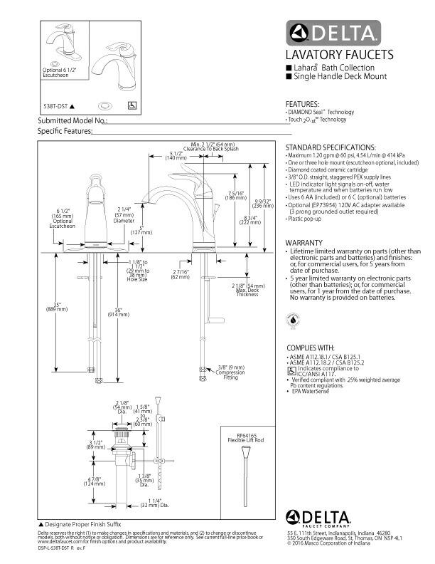 洗面水栓 蛇口 混合水栓 節水 タッチ&センサー クローム 奥行14×吐水口高12.7cm DELTA デルタ ラハラ/Lahara 538T-DST