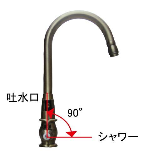 シャワーヘッド付き 混合水栓 スパウト可動式 アンティークゴールド(古金) 奥行22.5×吐水口高24.5cm INK-0301024H
