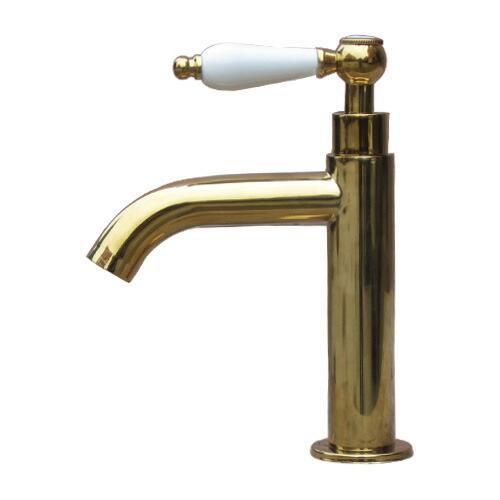 洗面水栓 蛇口 水栓金具 単水栓 シングルレバーハンドル 陶器 ゴールド(金) 奥行16×吐水口高9cm INK-0302056HT