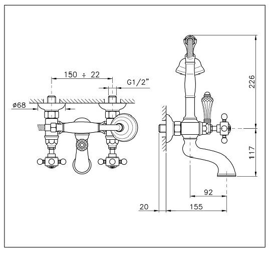 イタリア製 Nicolazzi ニコラッツイ 高級 シャワー水栓 1401-93 混合水栓