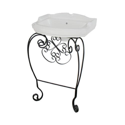 洗面台 洗面化粧台 アイアン 陶器洗面ボウル+洗面化粧台+プッシュアップ式排水栓 3点セット 幅65×奥行48.5×高95.5cm INK-1401314Hset