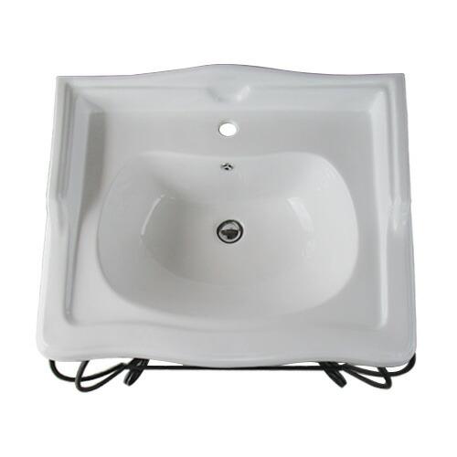 洗面台 洗面化粧台 アイアン 陶器洗面ボウル+洗面化粧台+プッシュアップ式排水栓 3点セット 幅80×奥行58.5×高96cm INK-1401316Hset