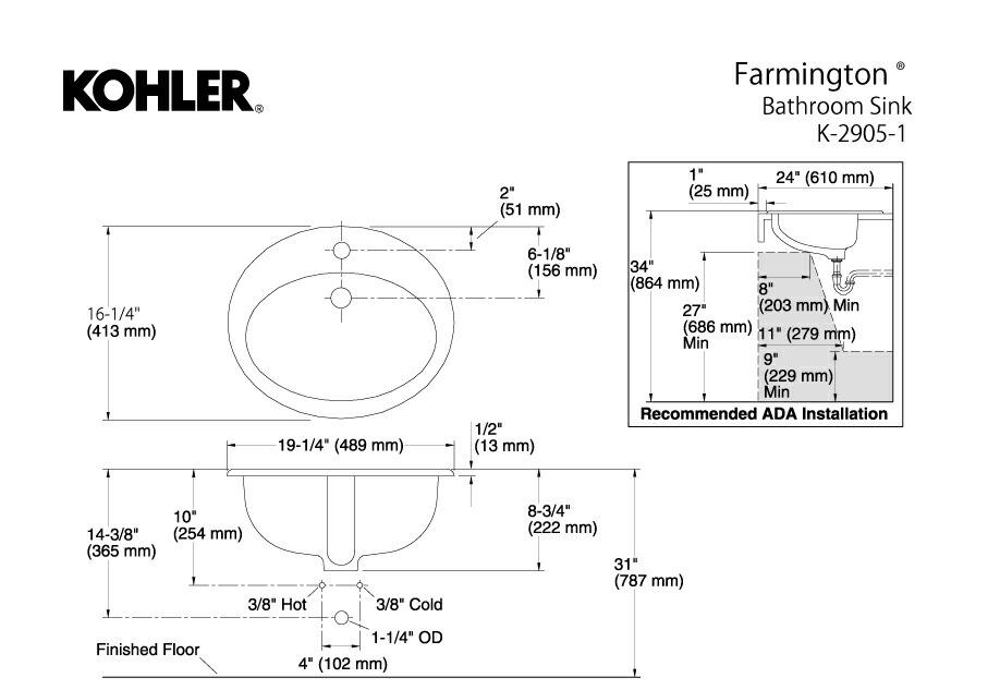 洗面ボウル おしゃれ シンク 鋳物ホーロー オーバル 1穴 コーラー ファーミントン KOHLER Farmington 正規輸入品 幅48.9cm K-2905-1-0
