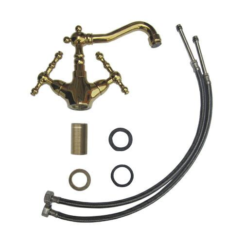 蛇口 混合水栓 スパウト可動式 2レバーハンドル ゴールド(金) 奥行19.5×吐水口高11.5cm INK-0303104H