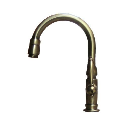 洗面水栓 蛇口 水栓金具 単水栓 シングルレバーハンドル(スパウト可動式) アンティークゴールド(古金) 奥行18.5×吐水口高16.5cm INK-0302045H