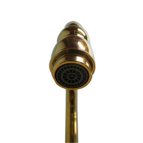洗面水栓 蛇口 水栓金具 単水栓 シングルレバーハンドル 陶器(スパウト可動式) ゴールド(金) 奥行18.5×吐水口高16.5cm INK-0302044HT