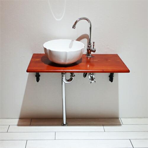 洗面台 洗面化粧台 陶器洗面ボウル 単水栓の6点セット VIN-18
