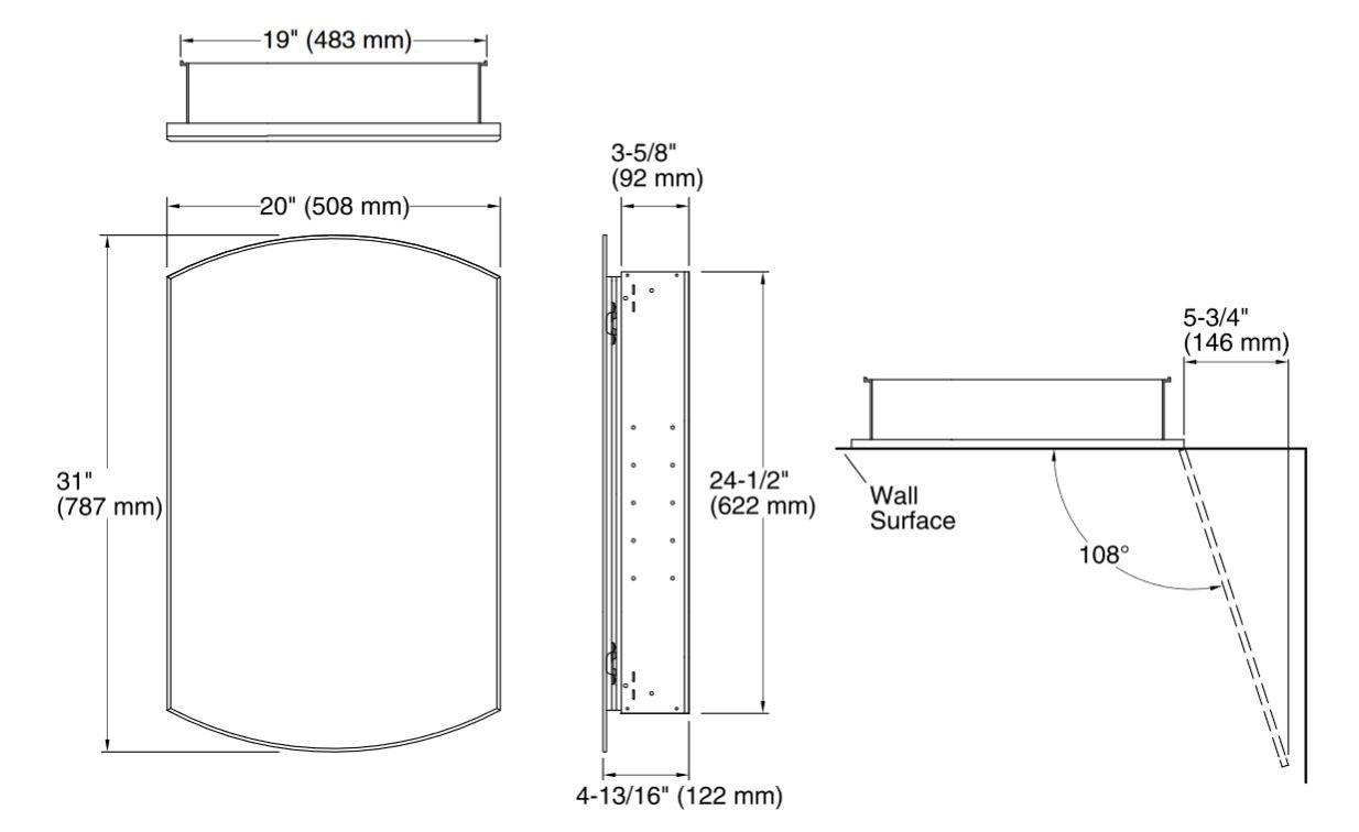 ミラーキャビネット 鏡 シルバー(銀) KOHLER コーラー アーチャー  幅50.8×奥行12.2×高78.7cm K-3073-NA