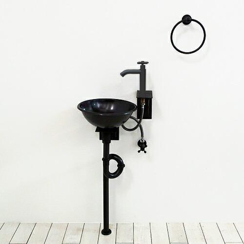 洗面台 洗面化粧台 [洗面ボウル+洗面ボウル用ブラケット+単水栓+単水栓用ブラケット+プッシュ式排水栓+トラップ]の6点セット IDS-10 INK-1401327hset
