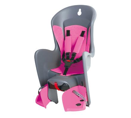 Polisport 子ども乗せシート - ビルビー (後乗せキャリア取付けタイプ) グレー×ピンク