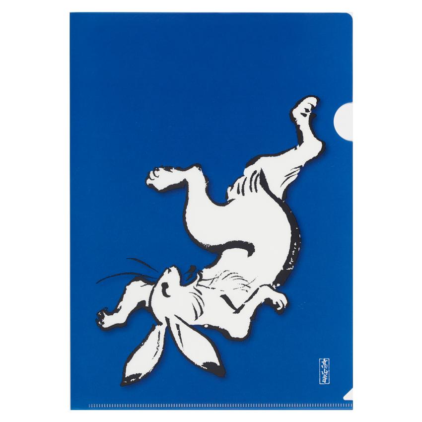 【DM便可】 A4クリアファイル 〈国宝 鳥獣人物戯画(相撲/紺)〉