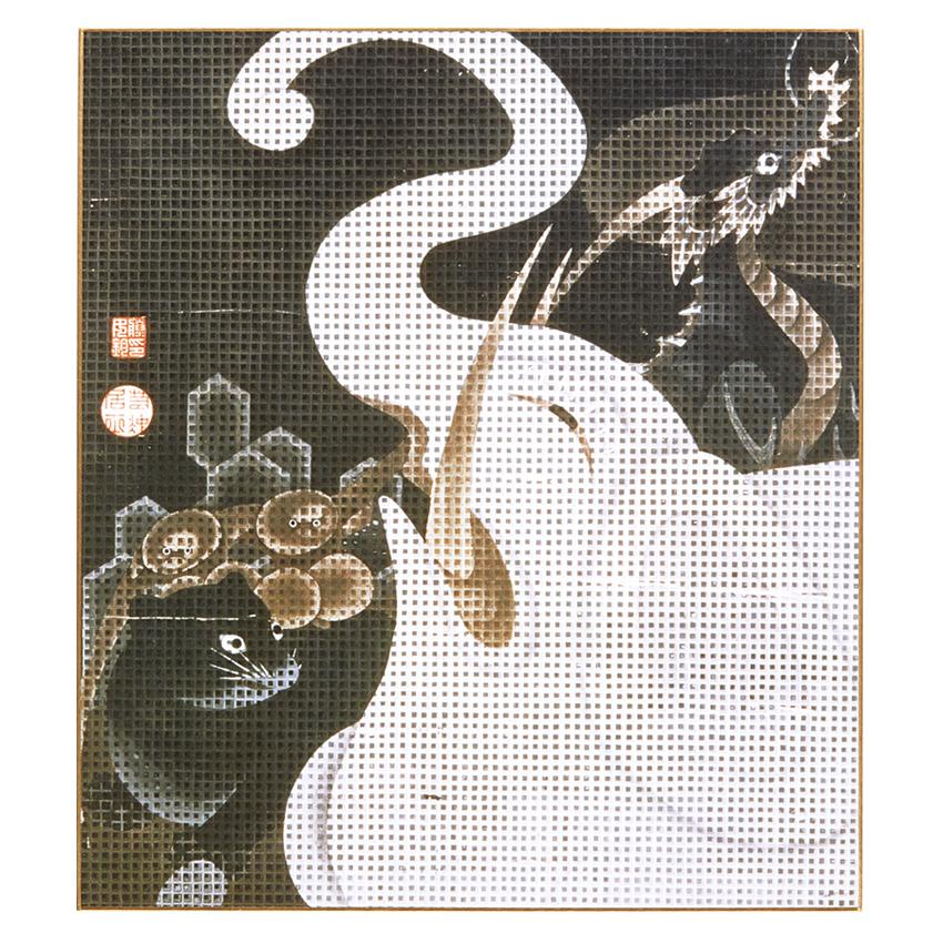 色紙 〈白象群獣図〉伊藤若冲筆