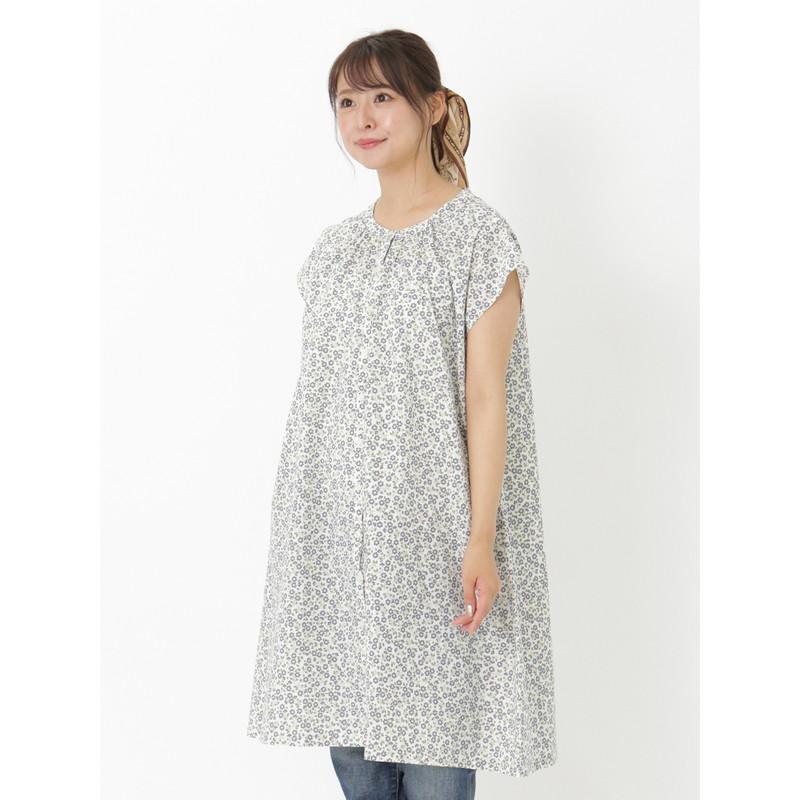 大きいサイズ レディース トップス 花柄 フレンチスリーブ ロング チュニ 夏 新作