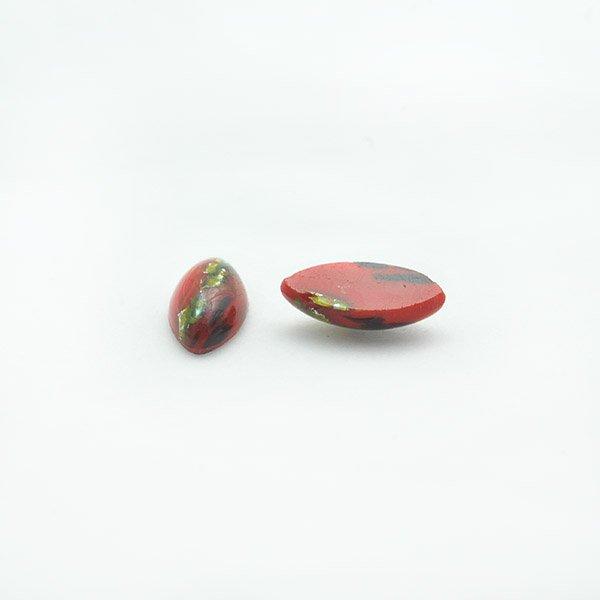 ハンドメイドカボションナベット15/7mm レッド