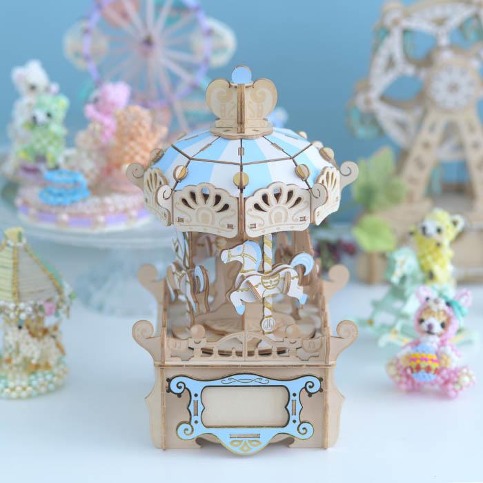 立体パズル 木製 ki-gu-mi オルゴール付き メリーゴーランド