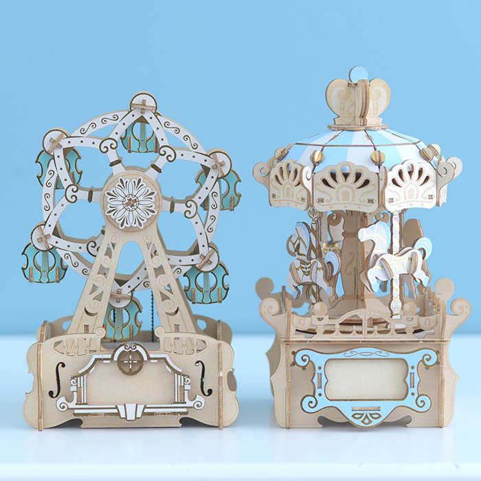 立体パズル 大人 工作 キット Wooden Art ki-gu-mi オルゴール付き メリーゴーランド
