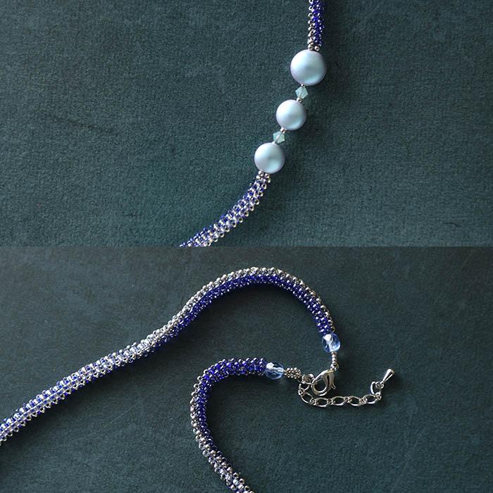 瑠璃色のブローチ&ネックレス  N-163 【作家:Shinon あわいしのぶ】