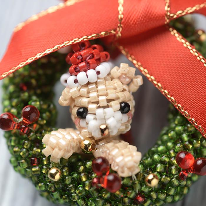 クリスマスリース☆ベア(ブローチ)  S-72 【作家:Shinon あわいしのぶ】
