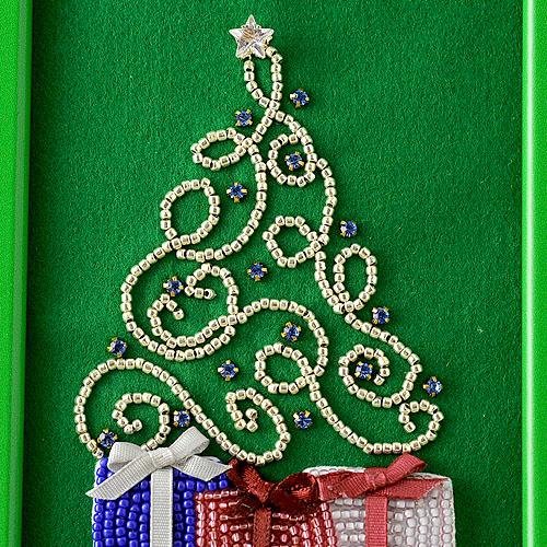 クリスマスフレーム ツリー 【ビーズ 刺繍】 【作家:三木千賀子】