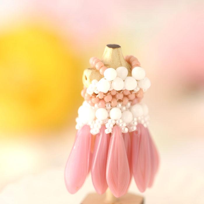 ビーズステッチで作るハニカムトルソードレス〜ティアレ・ピンク〜  【作家:漆原昌美(Mai My Beads)】