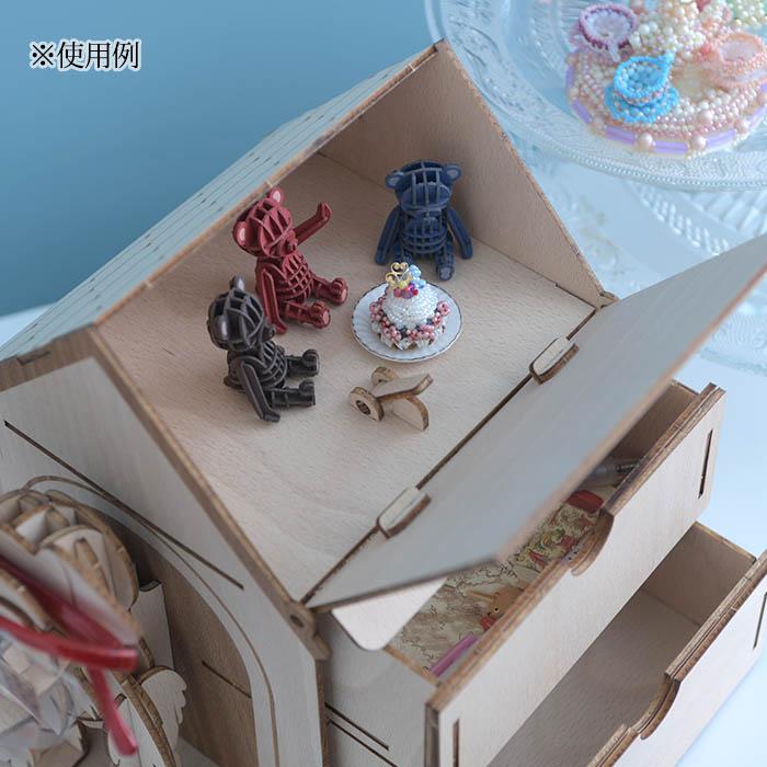 立体パズル 木製 ki-gu-mi Living ミニチュアシュナウザー ハウス型収納ケース